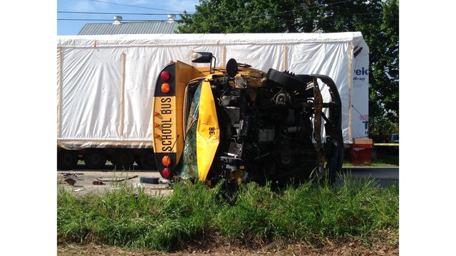 School bus flips in hit-and-run accident in Lancaster County