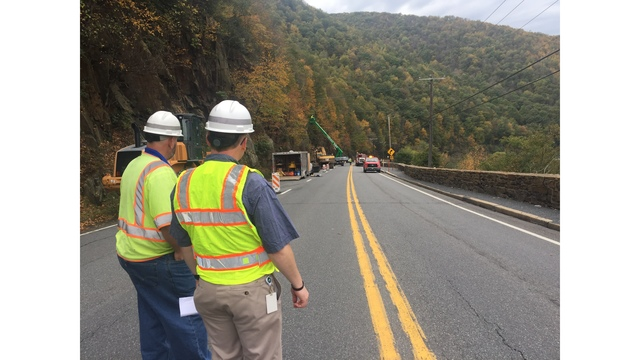 Crews Clearing Rock Slide on Route 209